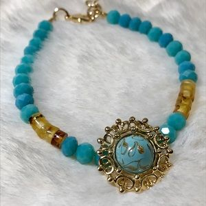 Turquoise Glass and Genuine Amber Bracelet